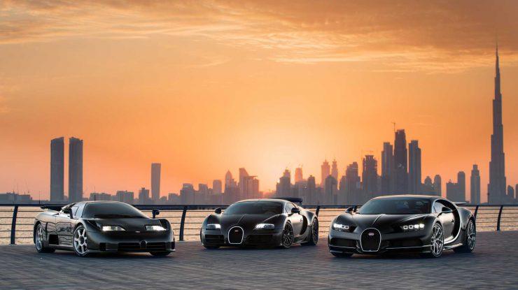 Trei muschetari Bugatti, la Dubai (video)